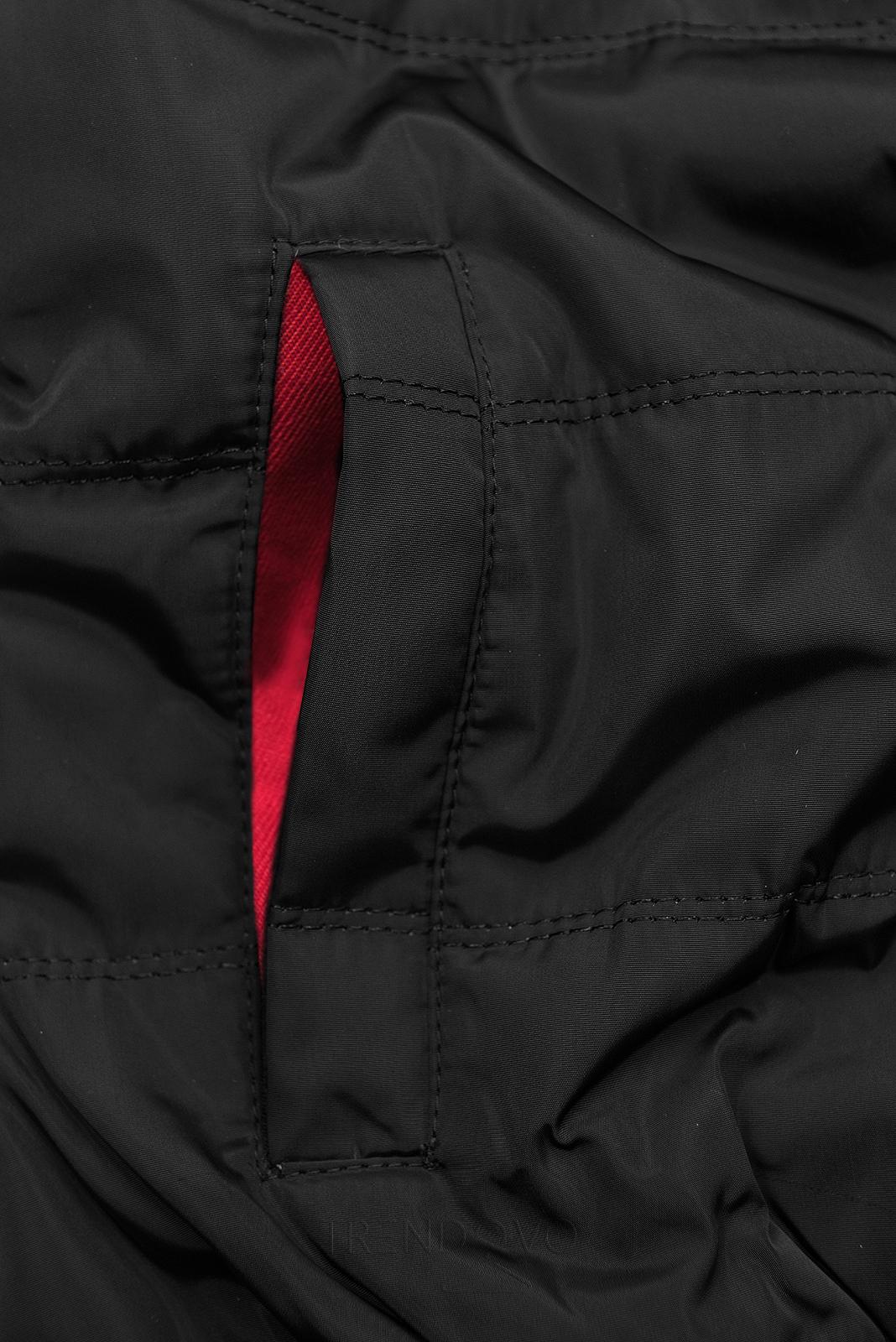Červená súprava v kombinovaných materiáloch
