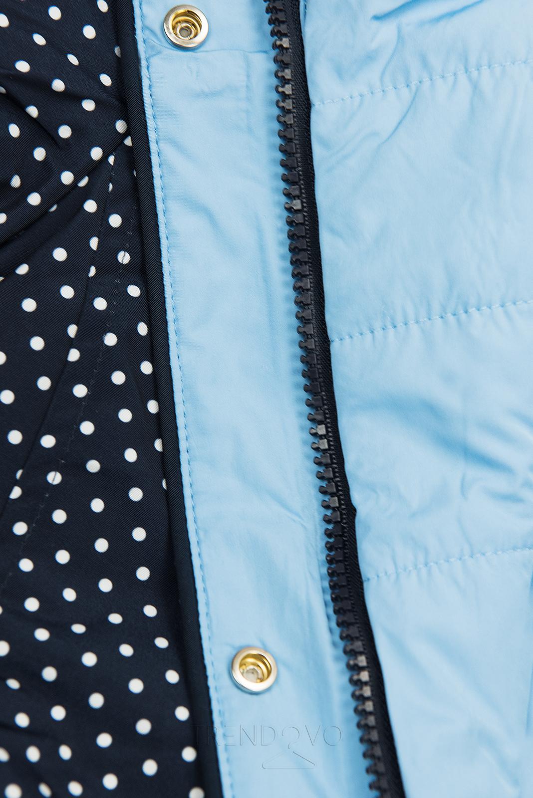 Bodkovaná obojstranná bunda tmavomodrá/babyblue