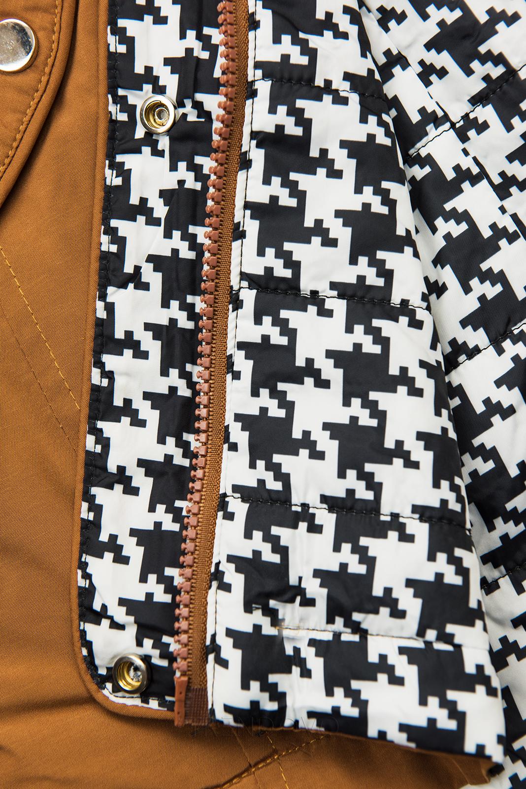 Hnedá obojstranná bunda s pepito vzorom