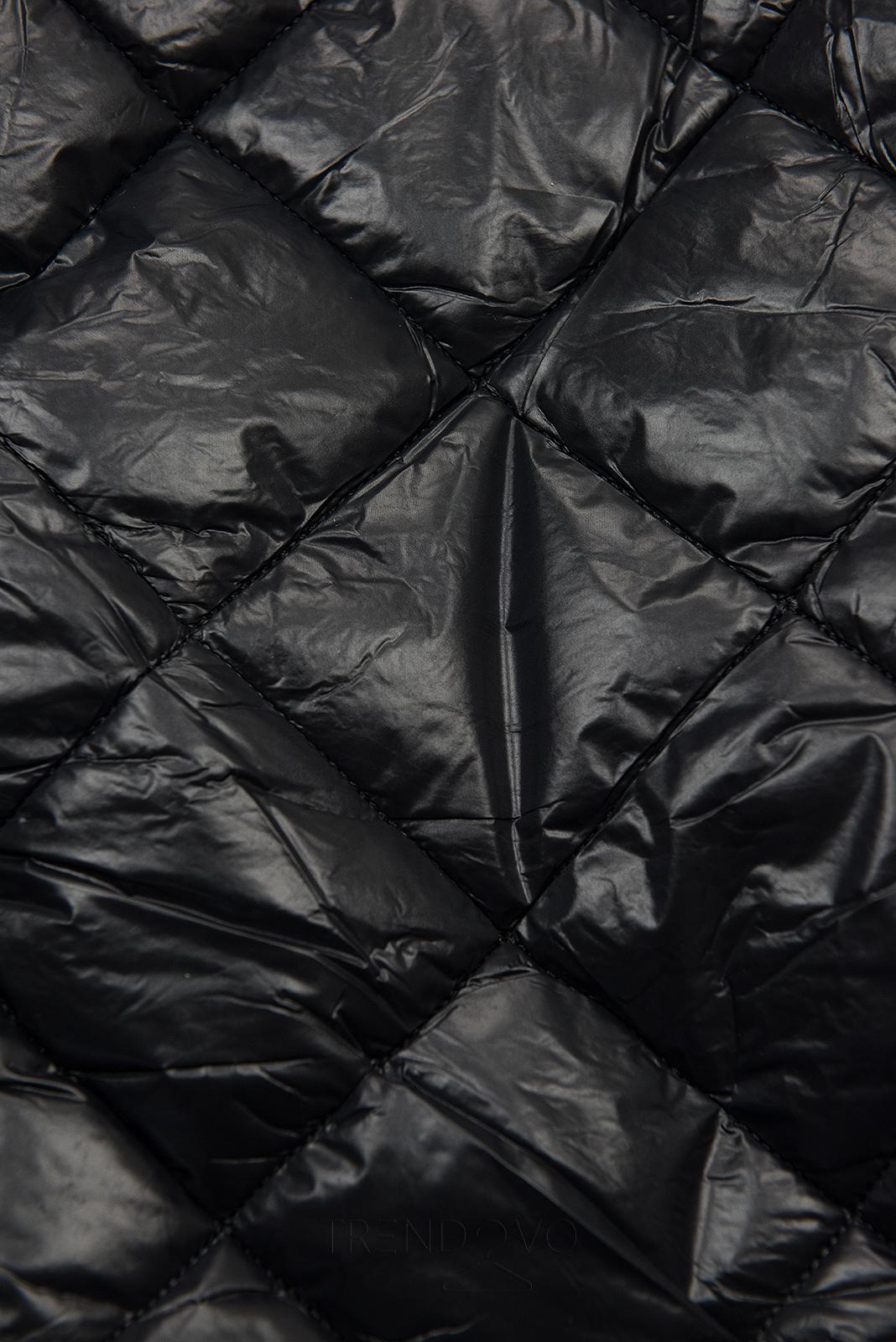 Čierno-béžová lesklá zimná bunda s opaskom