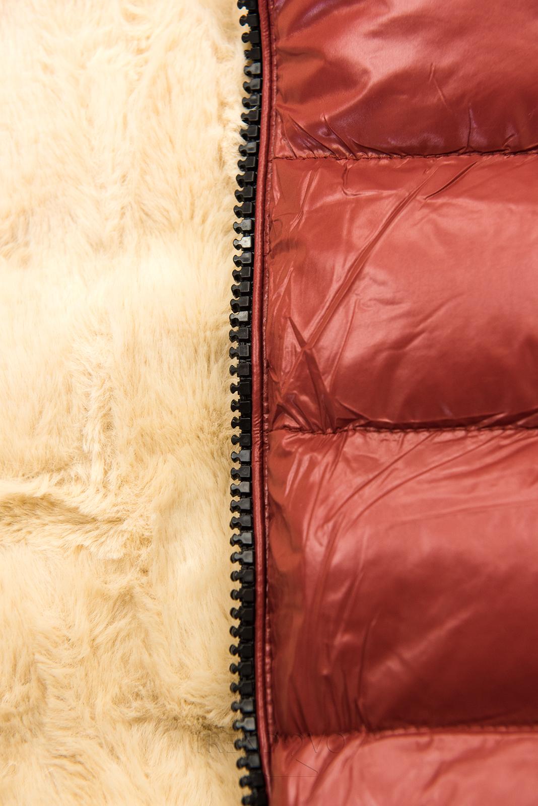 Terakota/béžová lesklá bunda s opaskom