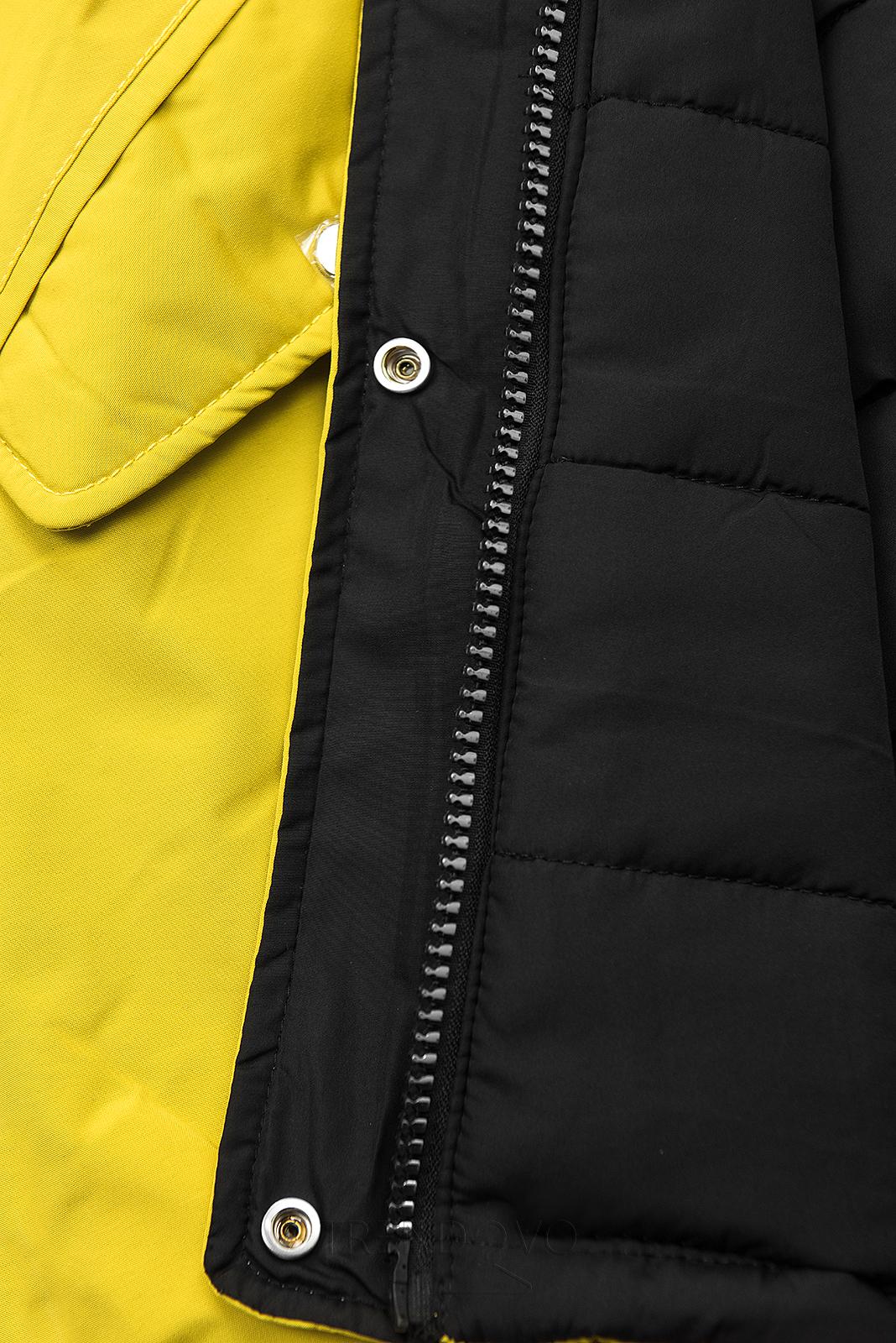 Zimná parka obojstranná žltá/čierna