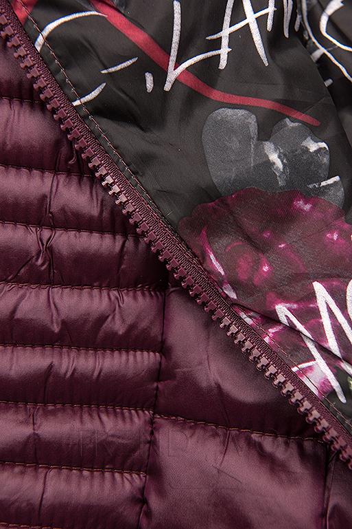 Fialová prešívaná bunda s farebnou podšívkou