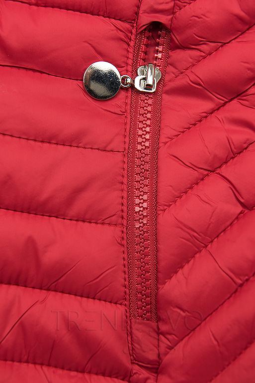 Červená prešívaná prechodná bunda