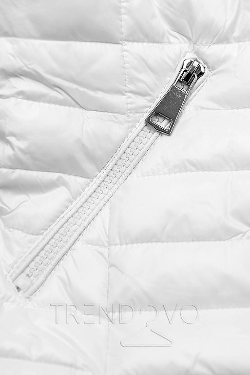 Biela prešívaná lesklá bunda