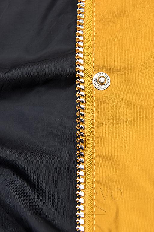 Žltá/modrá basic jarná parka s kapucňou