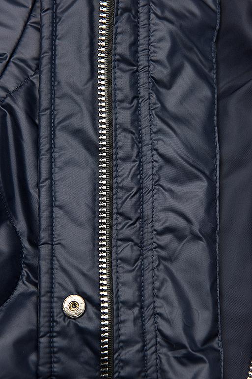 Tmavomodrá prešívaná bunda bez kapucne