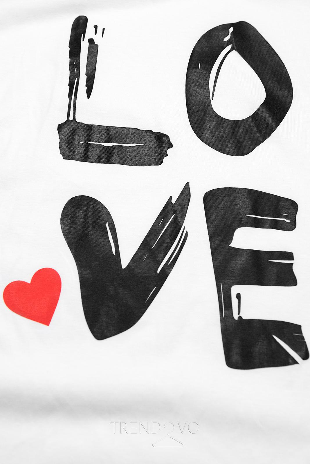 Tunika s potlačou LOVE biela