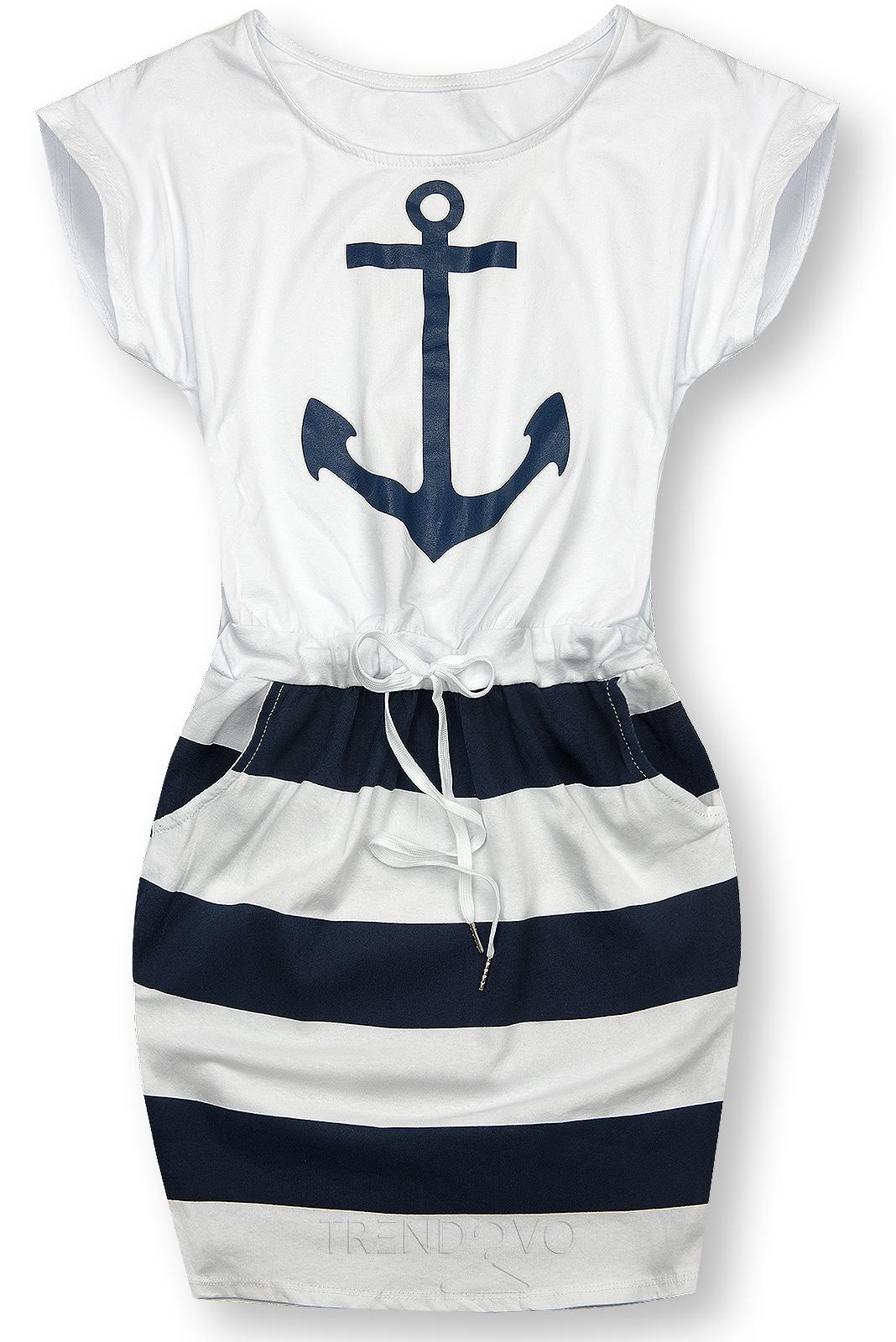 Modro-biele šaty s kotvou