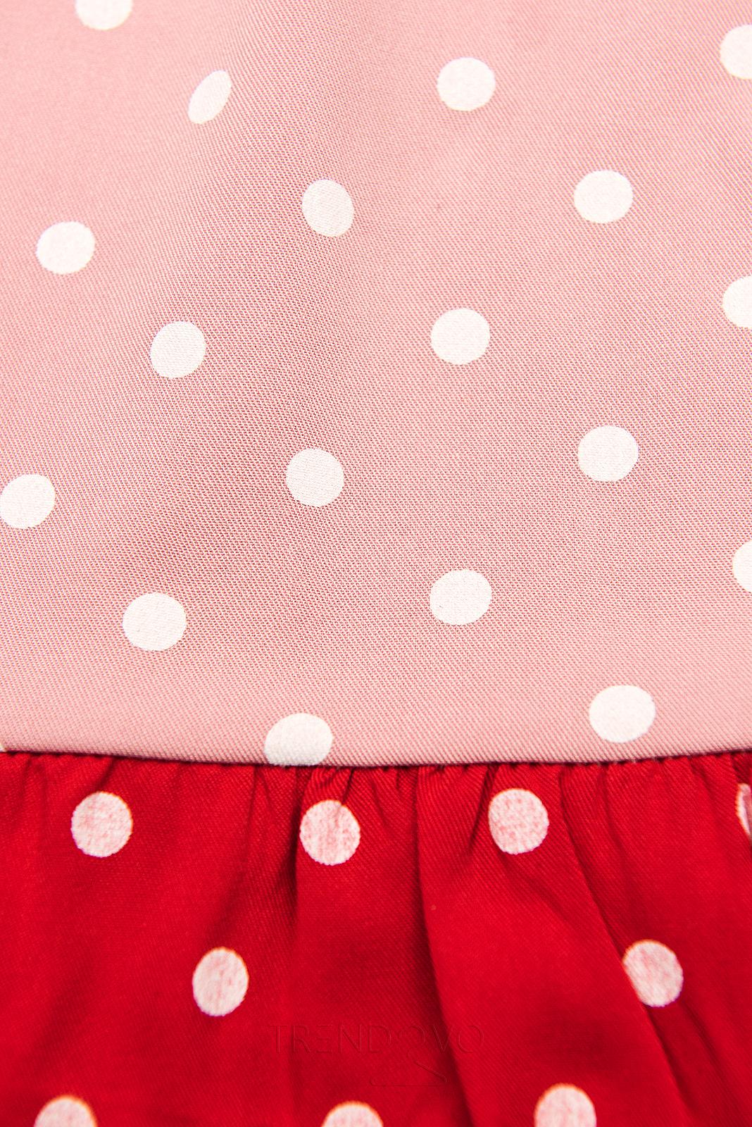 Bodkované šaty z viskózy biela/ružová/červená