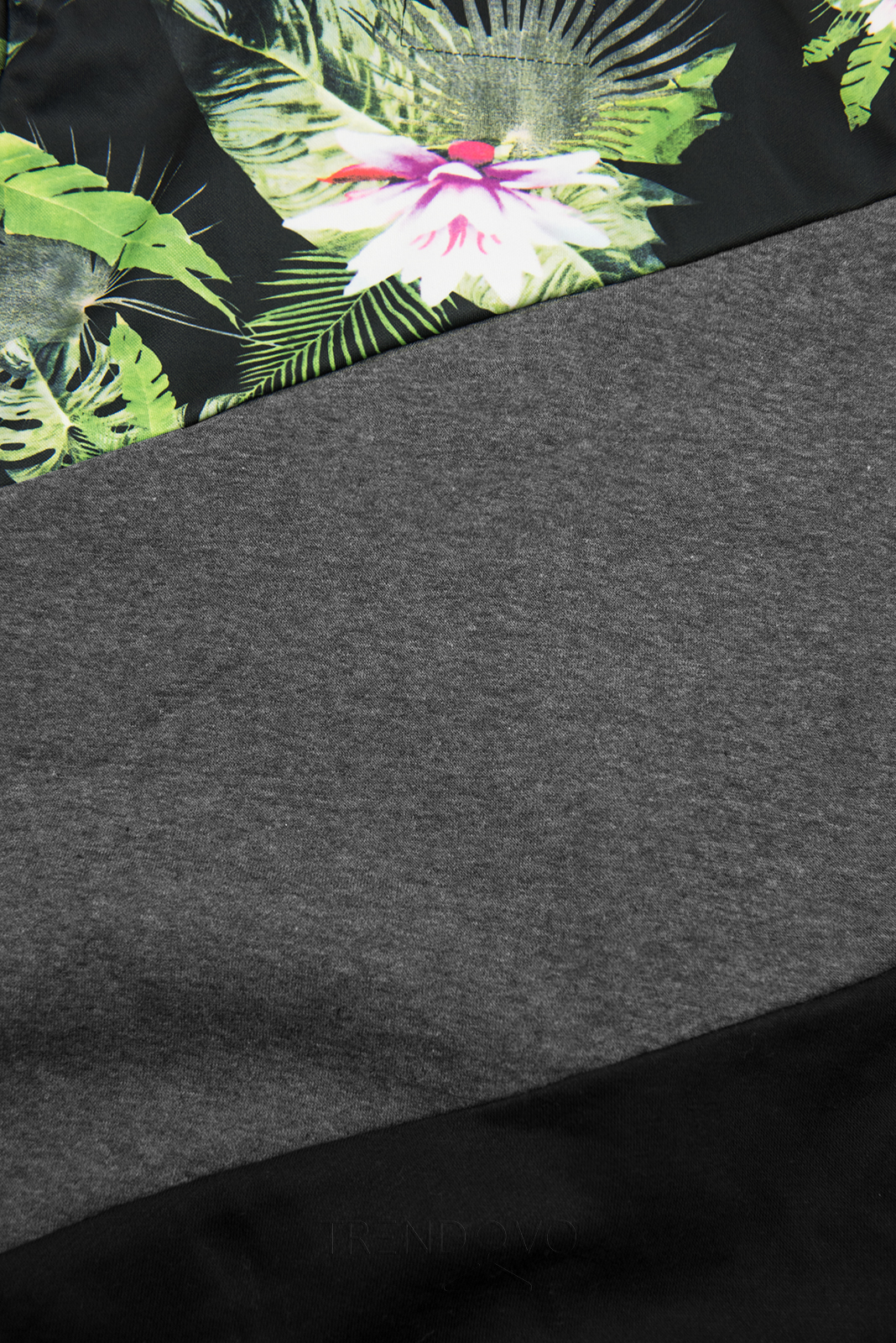 Grafitová/čierna kvetinová mikina