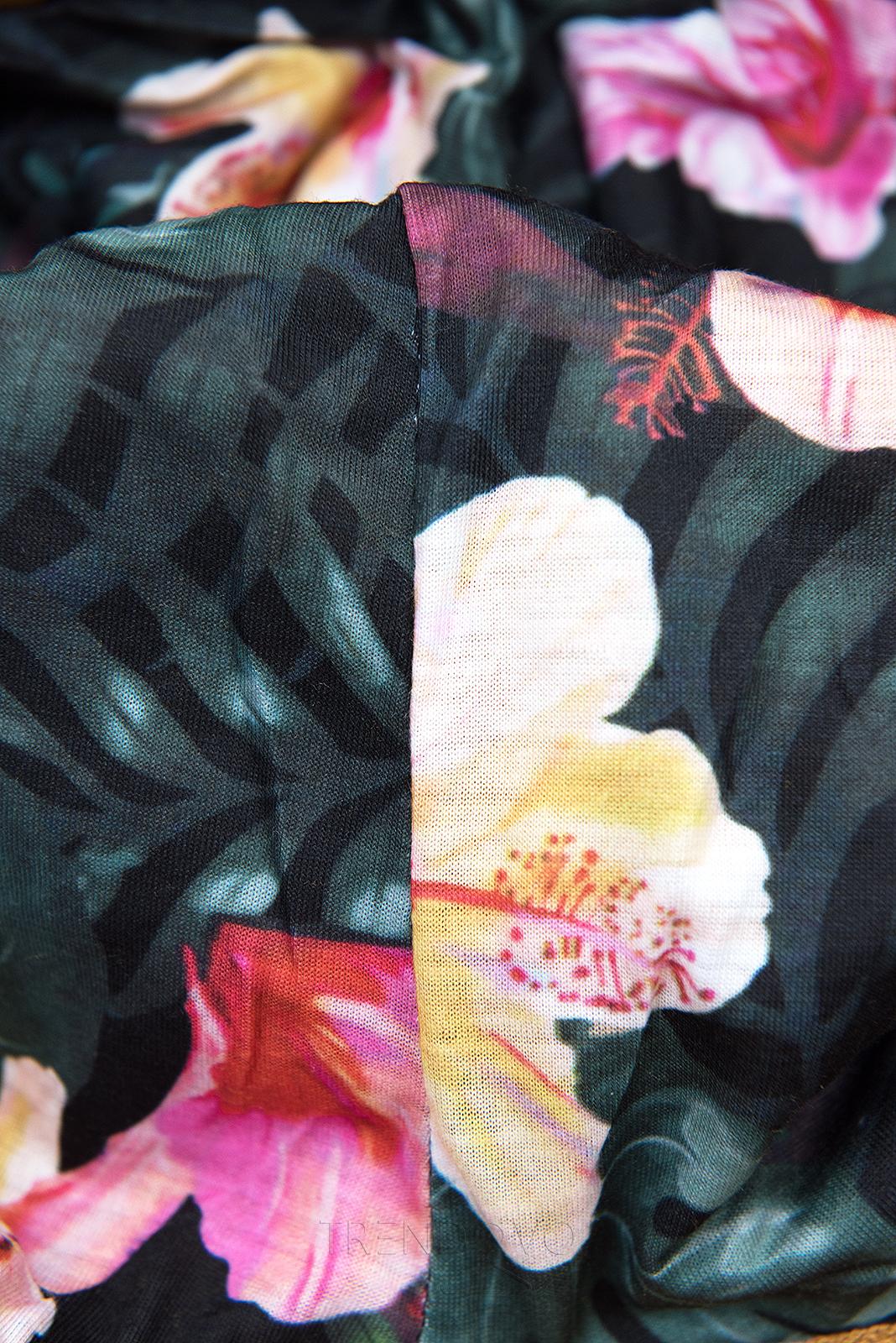 Tmavomodrá mikina s kvetinovou podšívkou