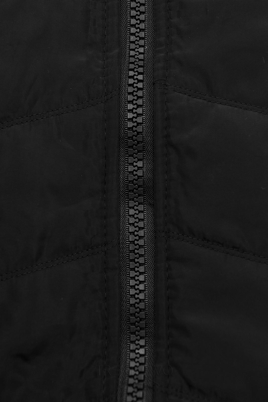 Čierna mikina s kombinovanými materiálmi