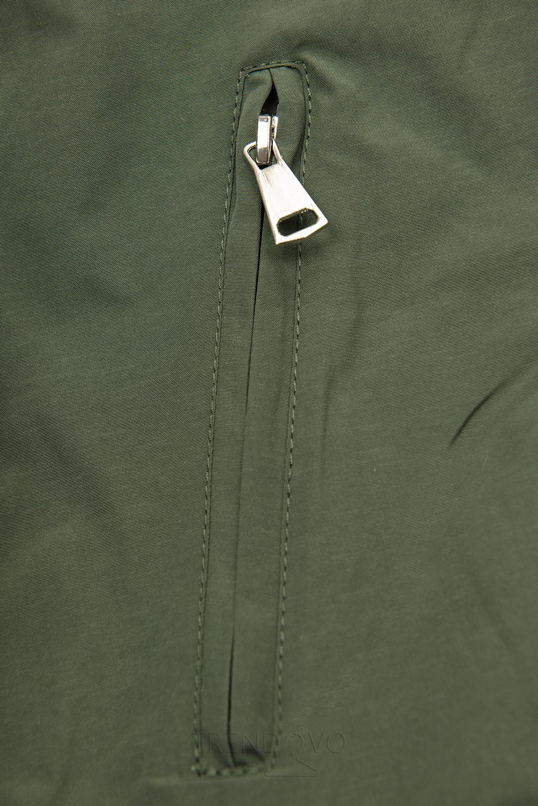 Khaki/hnedá obojstranná prechodná parka