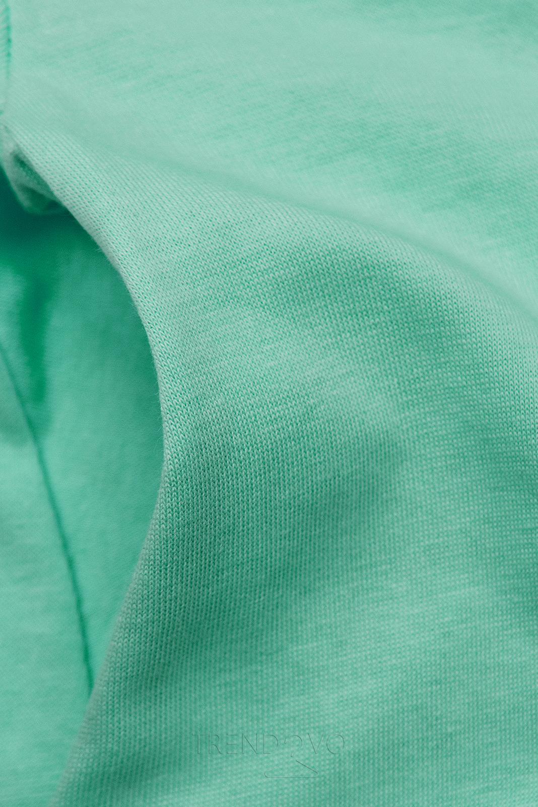 Mätovo zelené šaty s nášivkou SUMMER