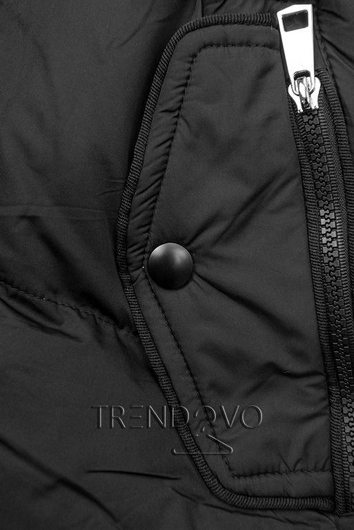 Čierna zimná bunda so sťahovaním v páse