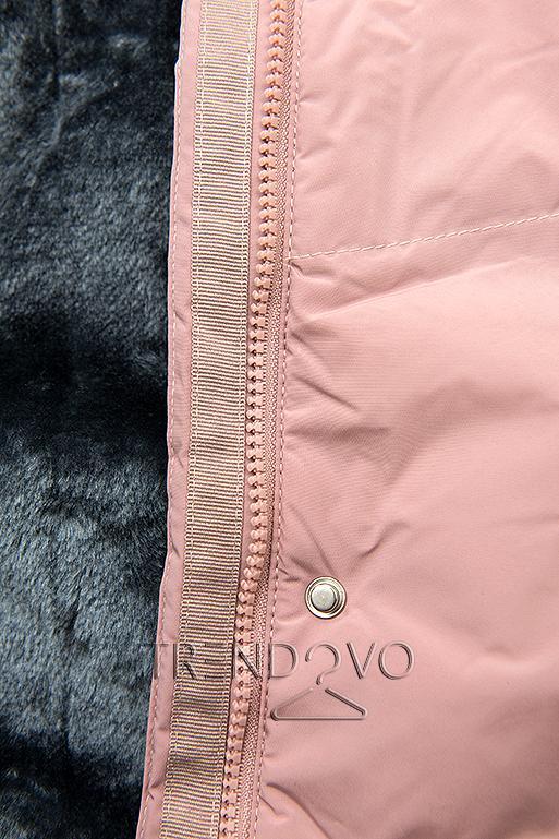 Ružová zimná bunda s plyšovou podšívkou