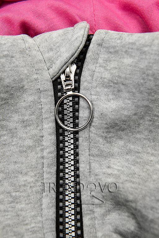 Tepláková súprava s vysokým golierom sivá/čierna