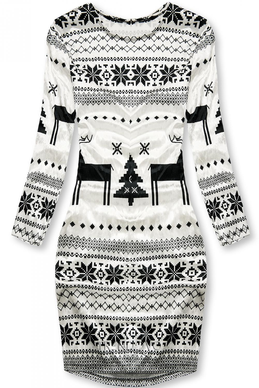 Biele zamatové šaty so zimným motívom