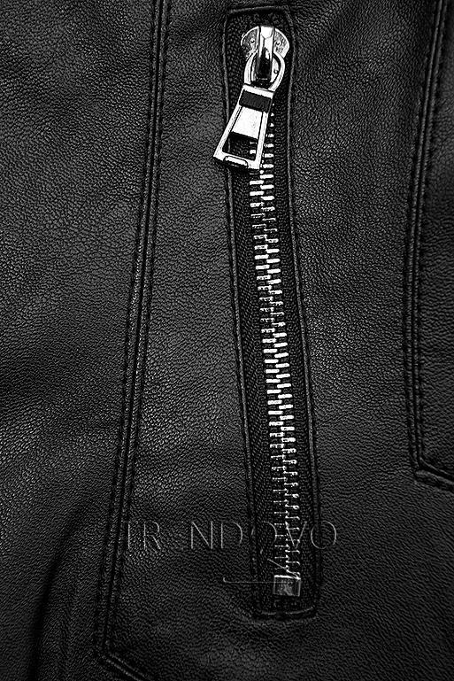 Čierna koženková bunda so vzorovanou podšívkou