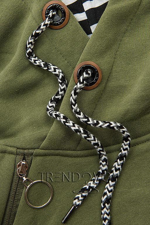 Khaki zelená dlhá mikina s kapucňou