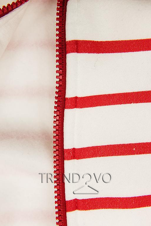 Pruhovaná mikina biela/červená