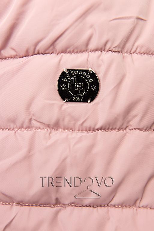 Ružová prešívaná bunda s čiernou plyšovou podšívkou