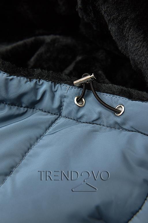 Sivá prešívaná bunda s čiernou plyšovou podšívkou