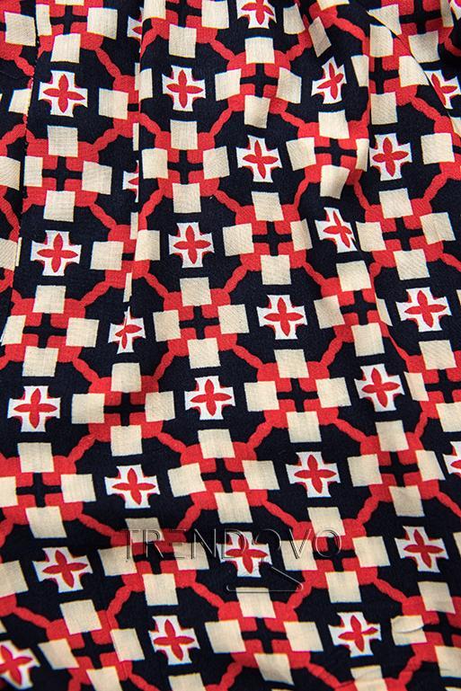 Modro-červené šortky s potlačou
