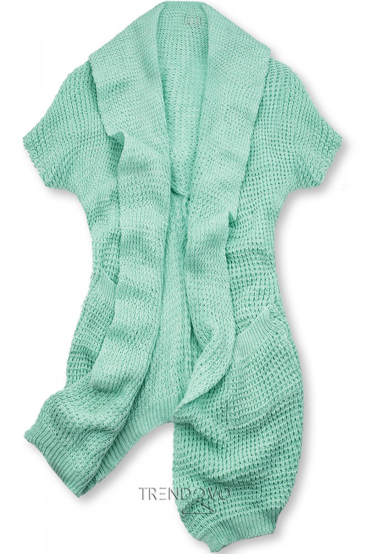 Mätovo zelenýasymetrický pletený kardigán