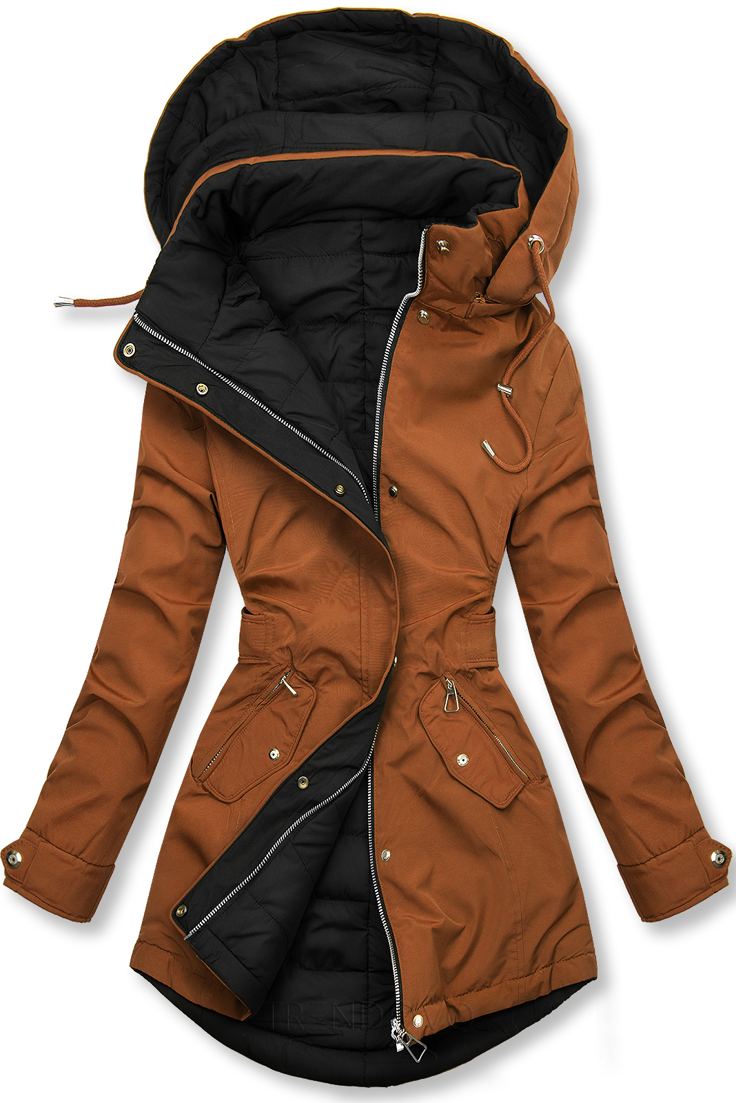 Hnedá/čierna obojstranná jesenná bunda
