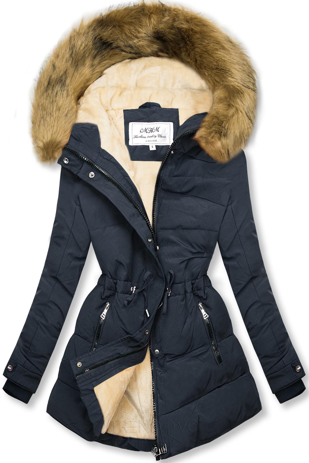 Tmavomodrá-béžová zimná bunda