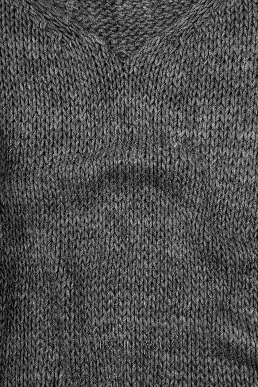 Grafitový pletený pulóver