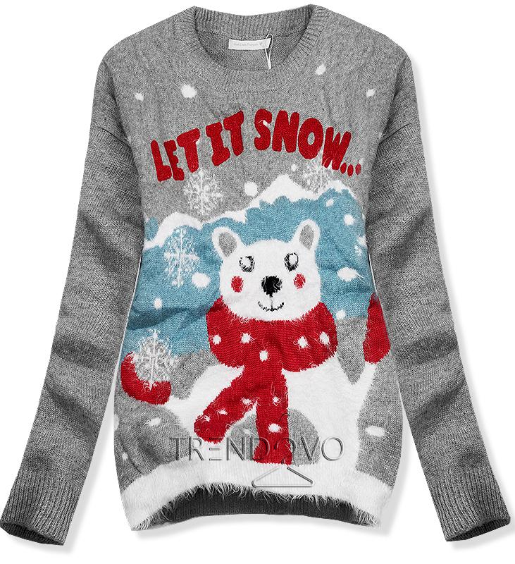 Sivý sveter LET IT SNOW