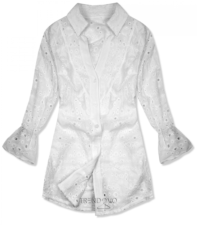 Biela košeľa z dierovaného materiálu