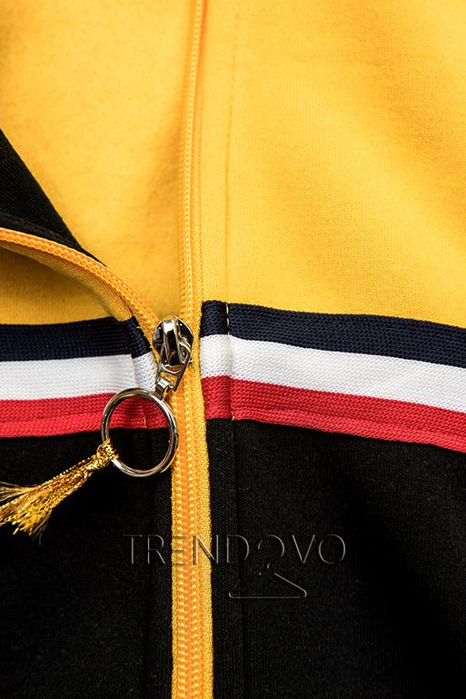 Predĺžená mikina čierna/žltá