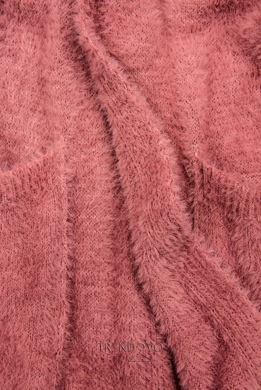Ružový dlhý kardigán
