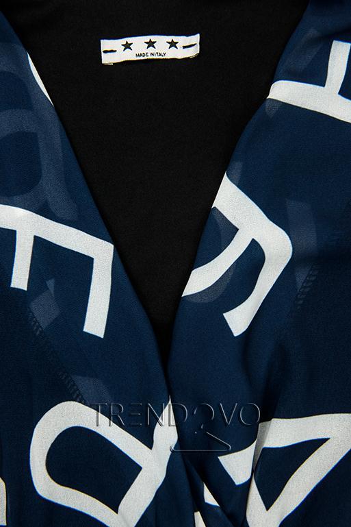 Tmavomodré midi šaty s potlačou písmen