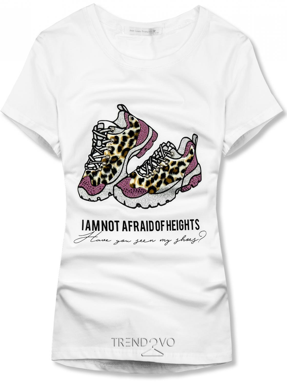 Biele dámske tričko s motívom topánok