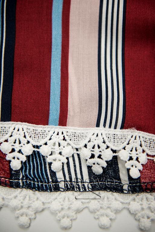 Modro-bordové pruhované šortky s čipkou
