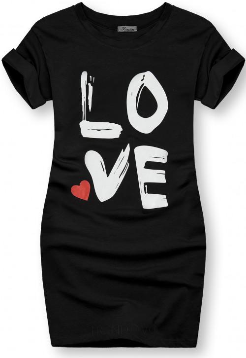 Tunika s potlačou LOVE čierna