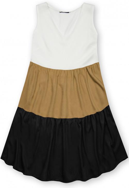 Letné šaty z viskózy biela/hnedá/čierna