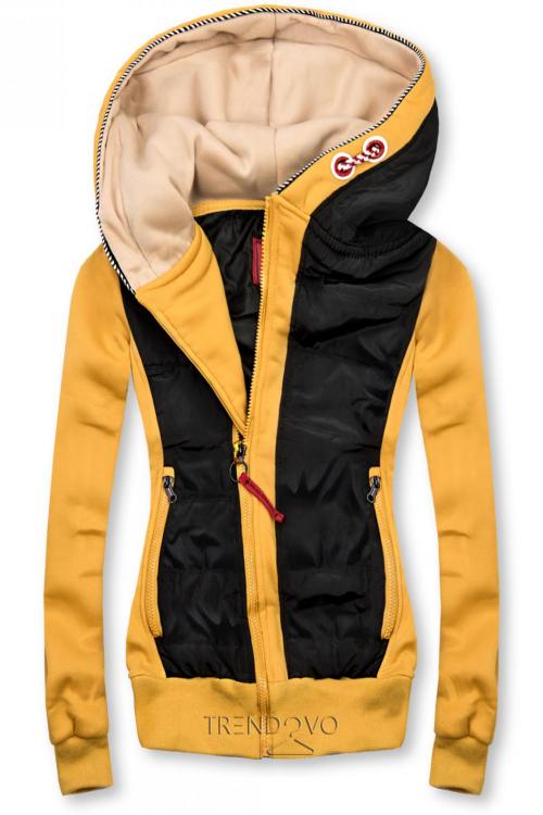 Žlto/čierna krátka kombinovaná mikina