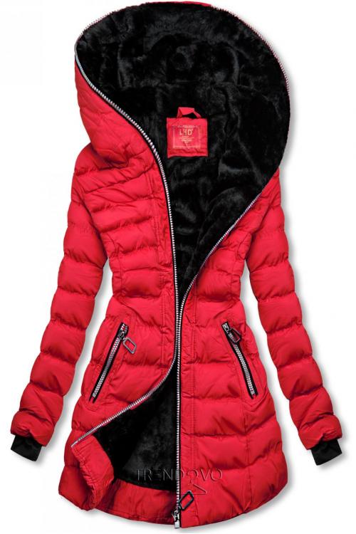Zimná prešívaná bunda s kapucňou červená