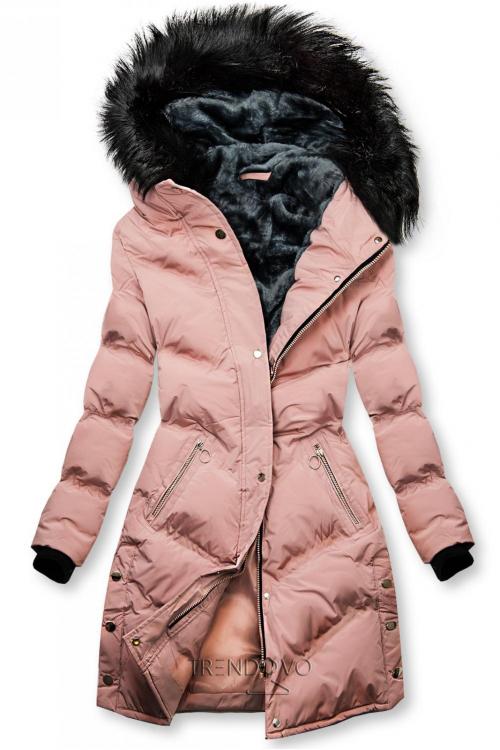 Ružová prešívaná zimná bunda