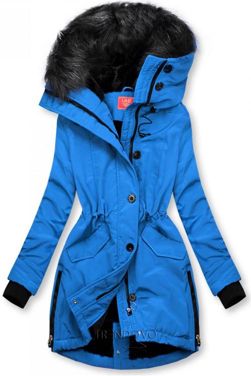 Kobaltovomodrá zimná bunda s vysokým golierom