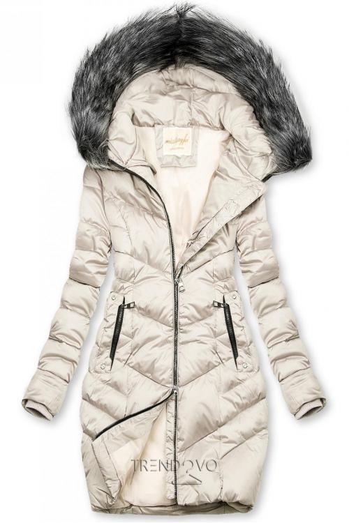 Prešívaná zimná bunda krémová