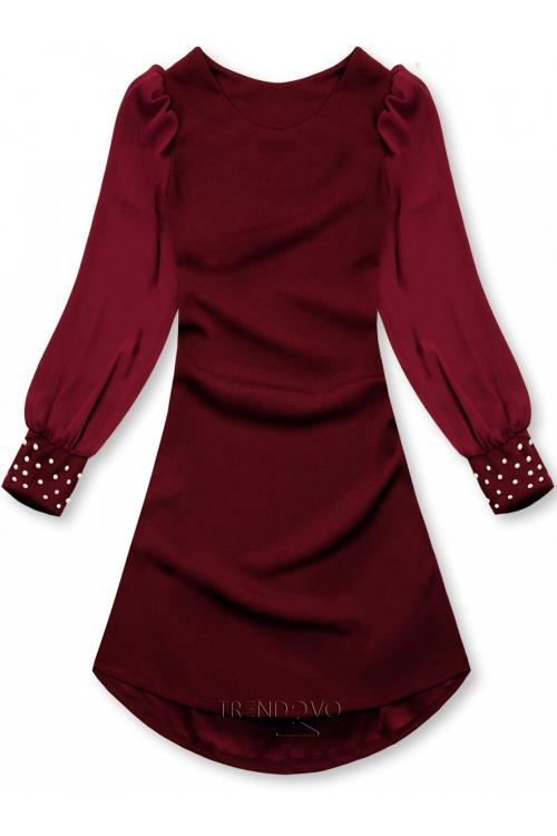 Bordové elegantné šaty v A-strihu