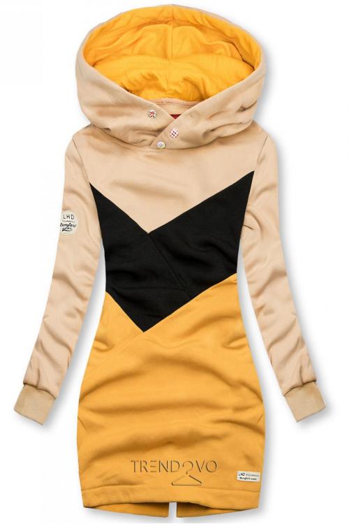 Mikina s obliekaním cez hlavu béžová/čierna/žltá