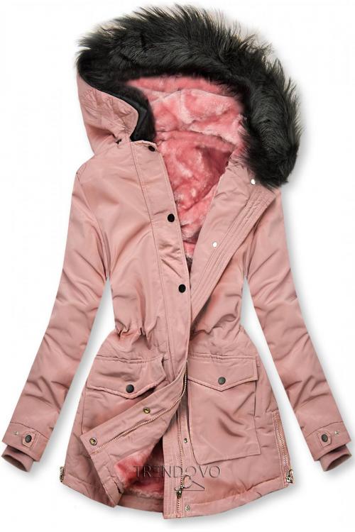 Ružová bunda zateplená plyšom